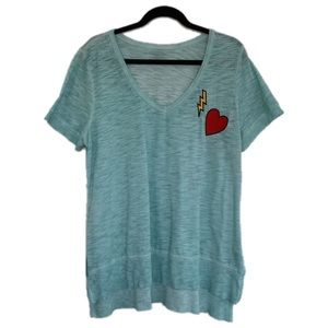 Lane Bryant Plus Size 14 16 Aqua Heart Thunder Top